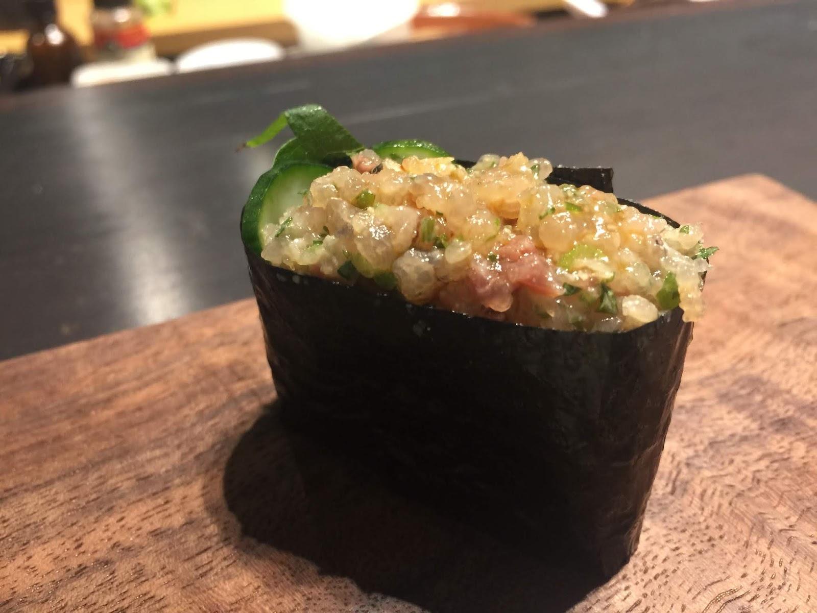Chopped Aji (spanish mackerel) with scallions and shiso leaf.