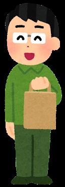 紙袋を持つ人のイラスト(男性)