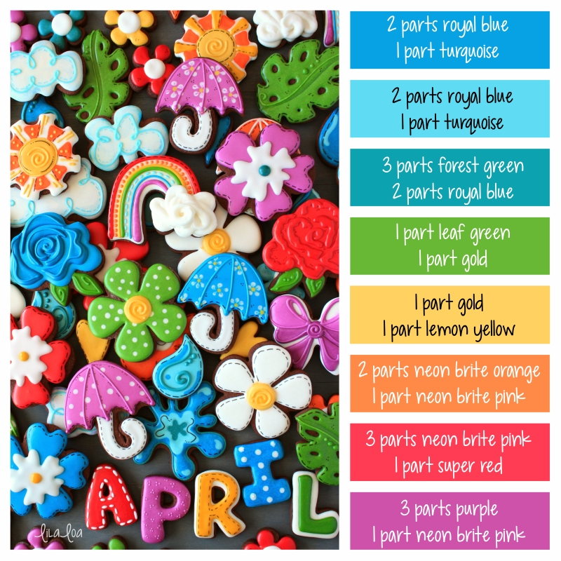 Bright and happy rainbow colored spring decorated chocolate sugar cookies