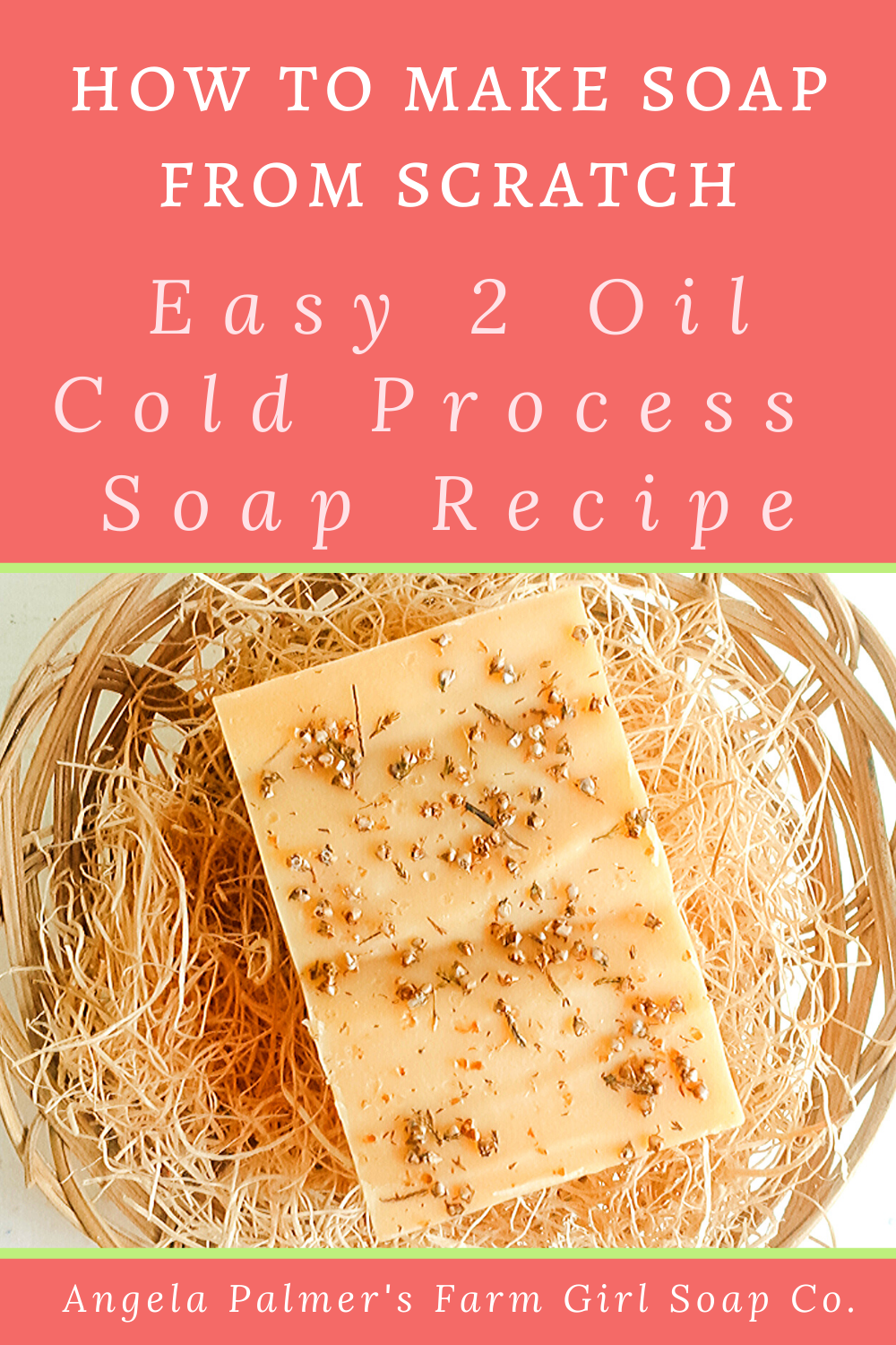 Want to learn how to make soap from scratch? This easy 2 oil cold process soap recipe is the perfect cold process soap recipe for beginners. Pin to save then click over to my farm blog to get the full soap making tutorial. By Angela Palmer at Farm Girl Soap Co.