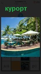 460 слов 4 на курорте стоят шезлонги и зонтики от солнца 6 уровень
