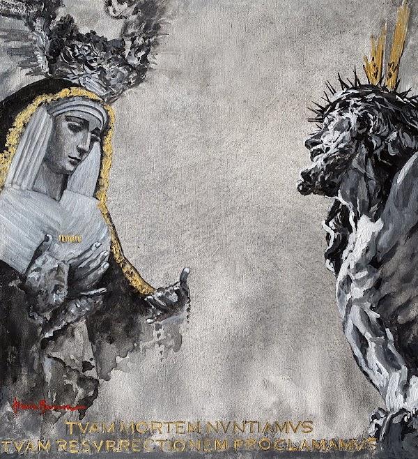 Una pintura de Nuria Barrera ilustra la papeleta de sitio simbólica del Cachorro