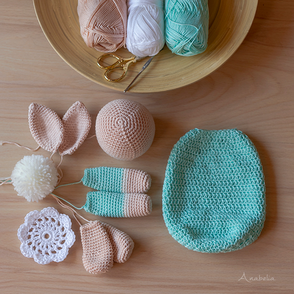 Crochet sleeping bunny, Anabelia Craft Design