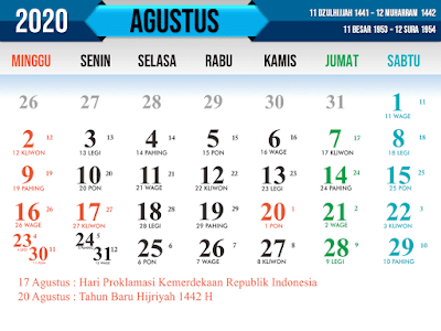 Download Kalender Islam tahun 2020