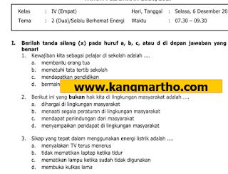 Download Soal PAS Kelas 4 Tema 2 SD/MI K13