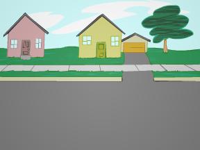 image drawing of suburban street
