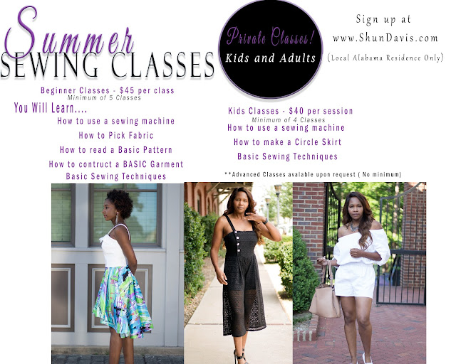 Summer Sewing Classes  ( Local Only)