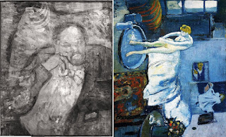 X ray image of the Blue Room painting of Pablo Picasso, 1901. X ray shows a man beneath the canvas, who is Ambroise Vollard.