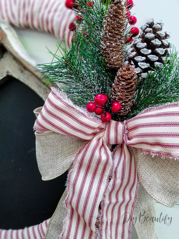 red ticking stripe farmhouse wreath