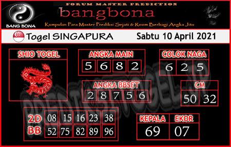 Prediksi Bangbona SGP Sabtu 10 April 2021