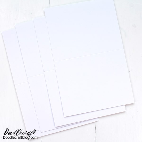 Step 1: Cut and Score Blank Cards Begin by cutting a standard piece of paper in half. Then score the pieces in half with a score board or with a ruler and stylus.
