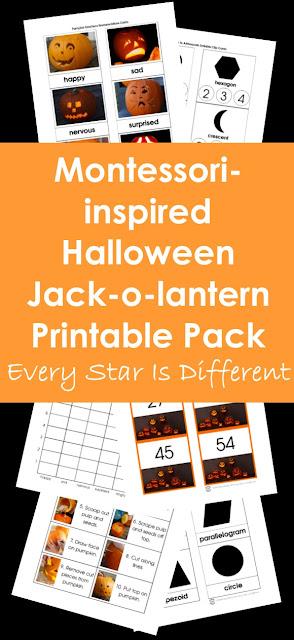 Montessori-inspired Halloween Jack-o-lantern Printable Pack