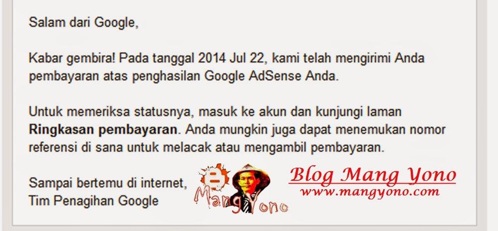 email dari Tim penagihan Google Adsense