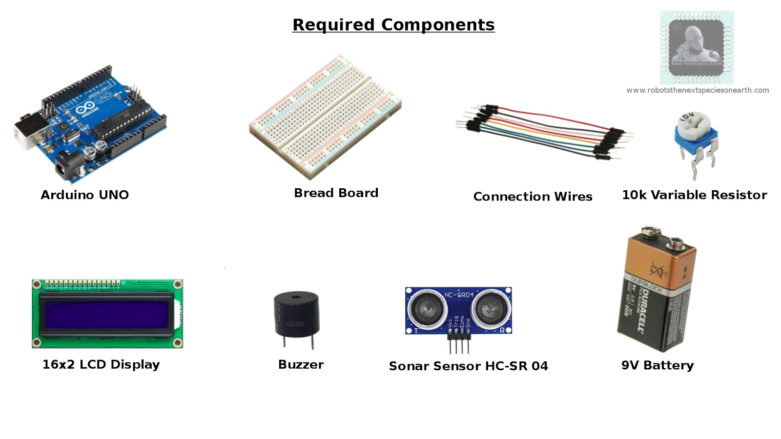 as usual we need arduino breadboard and connection wires for interconnecting all other components  [ 1600 x 900 Pixel ]