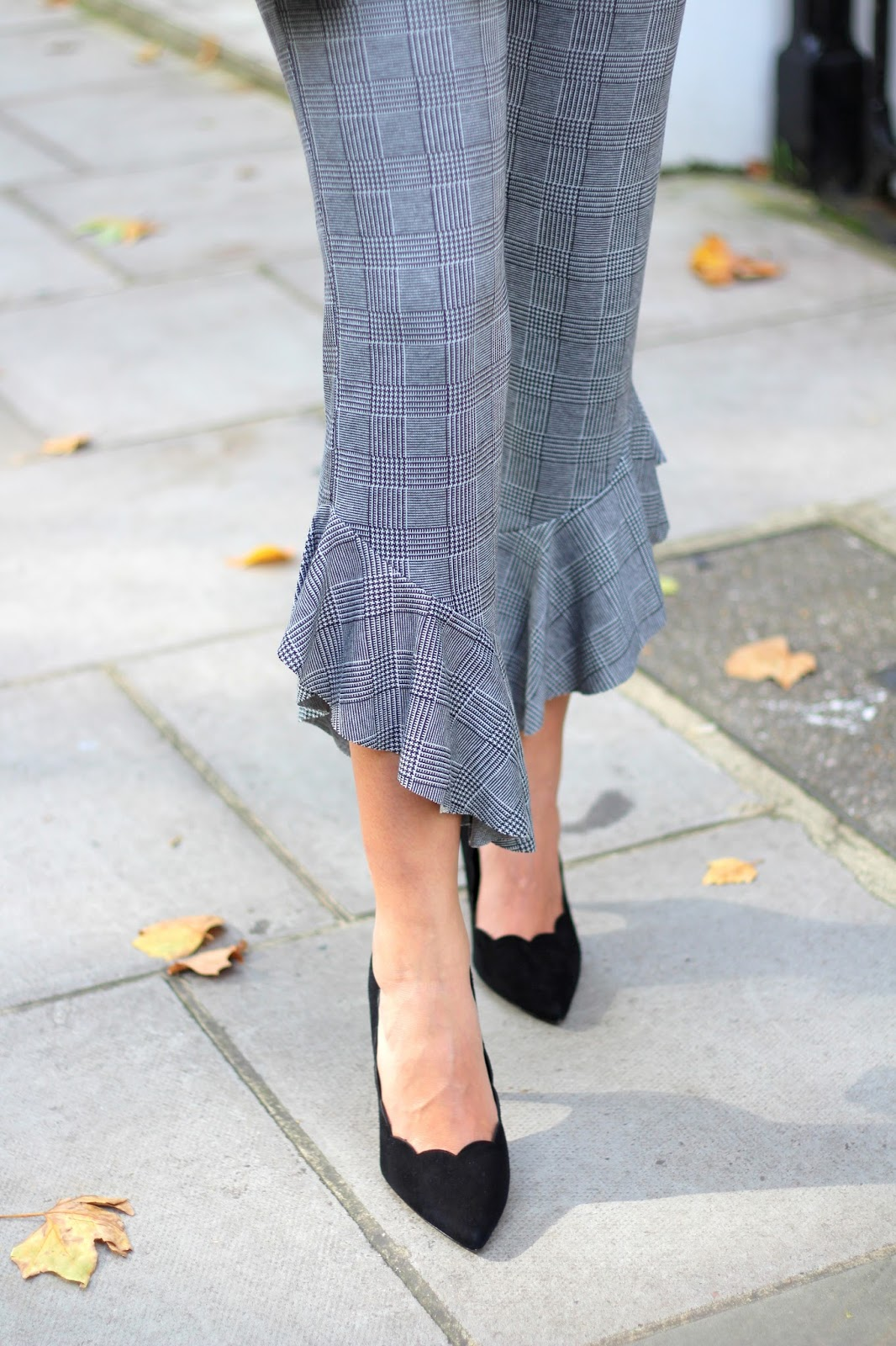 personal style flared prince of wales check trousers