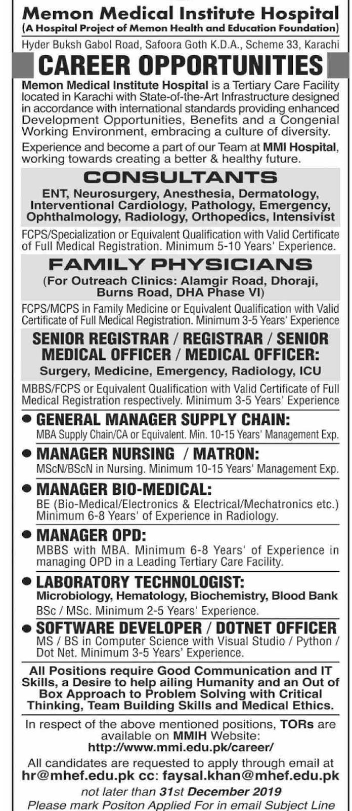 Jobs in Memon Medical Institute Hospital 2019