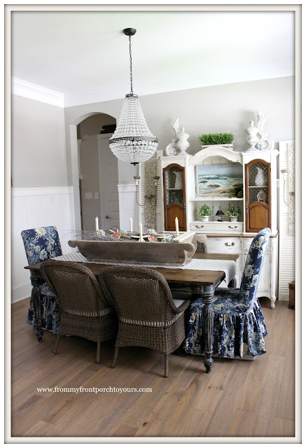 French Country Farmhouse Dining Room-Wicker Chairs-Parson Chairs-Vintage- From My Front Porch To Yours