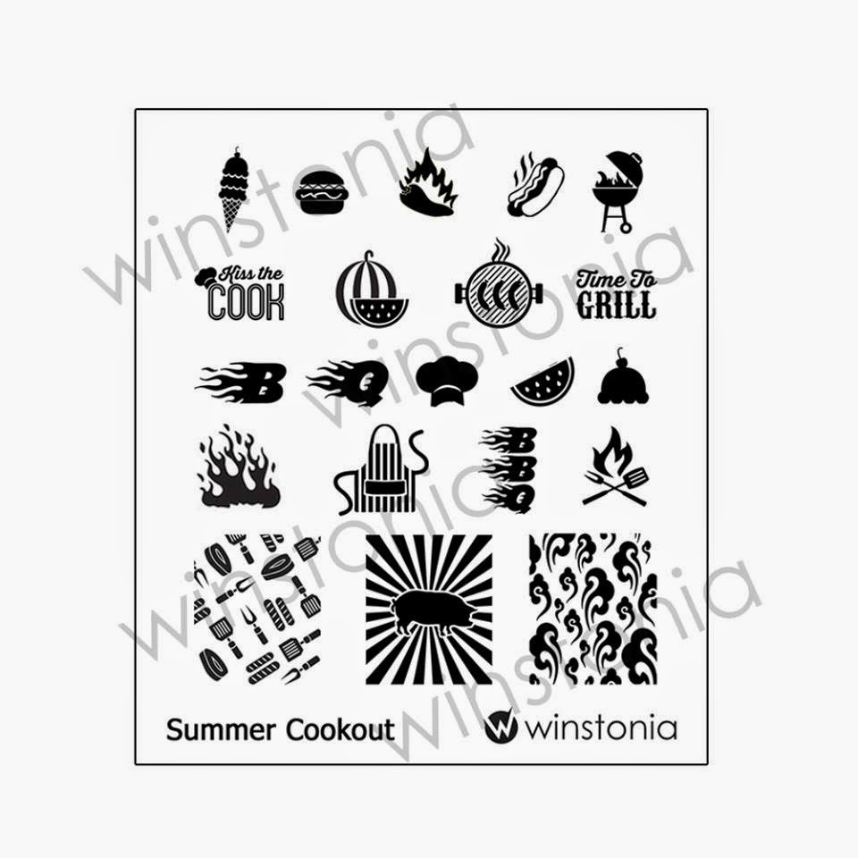 Lacquer Lockdown - Winstonia Store Summer Cookout, Winstonia Store nail art stamping plates, nail art stamping blog, new nail art stamping plates 2014, new nail art image plates 2014, new nail art plates 2014, beach nail art, summer nail art , cute nail art ideas, diy nail art,  barbecue nail art, cook out nail art, pig nail art, grilling nail art