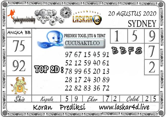 Prediksi Togel SYDNEY LASKAR4D 20 AGUSTUS 2020