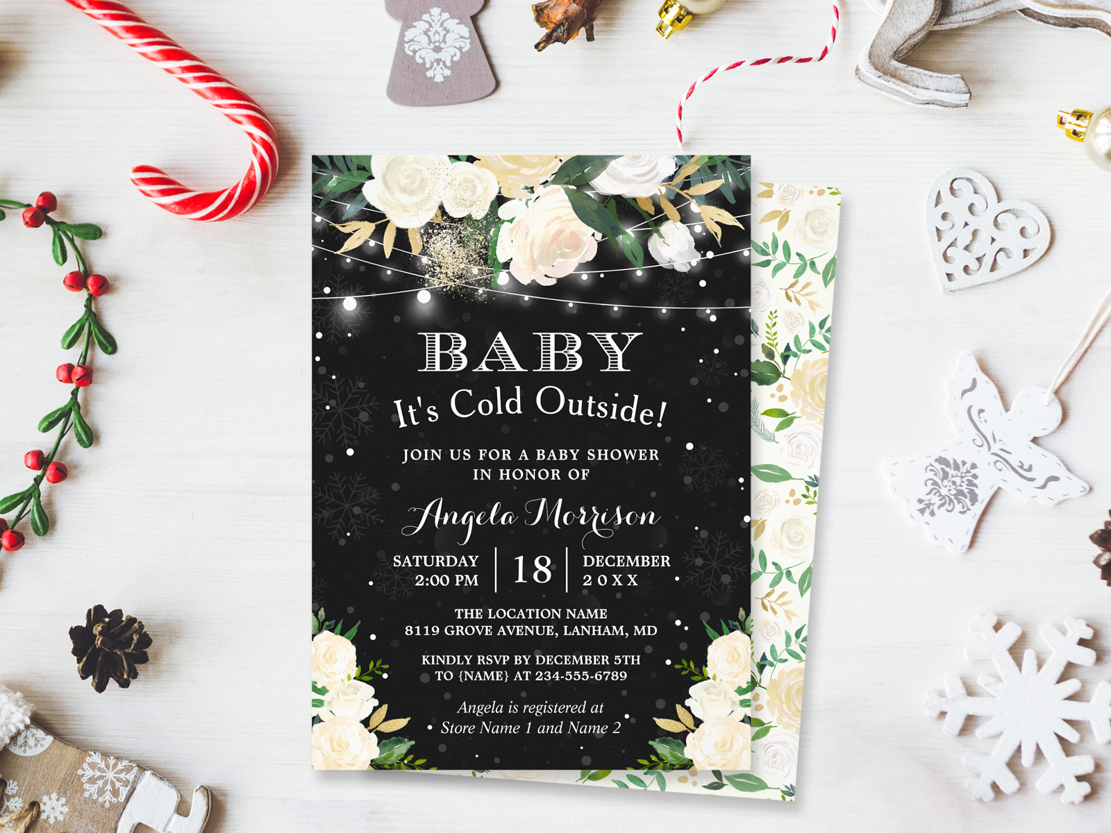 winter snowflakes baby shower invitation personalized