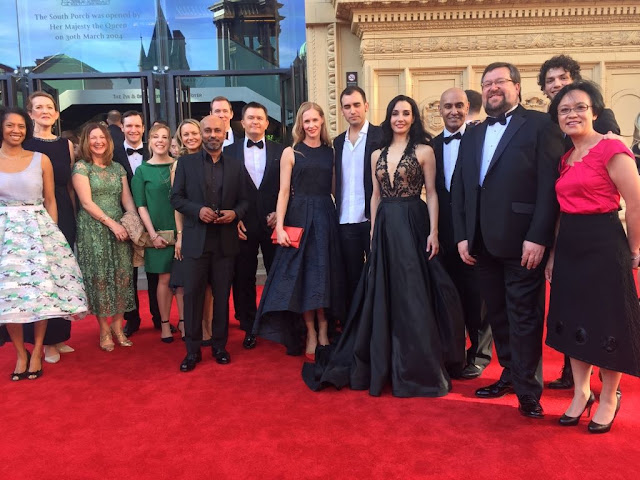 Gavin with ENB Artistic Director Tamara Rojo CBE, choreographer Akram Khan and ENB staff on the Red Carpet of the 2017 Olivier Awards at the Royal Albert Hall, London