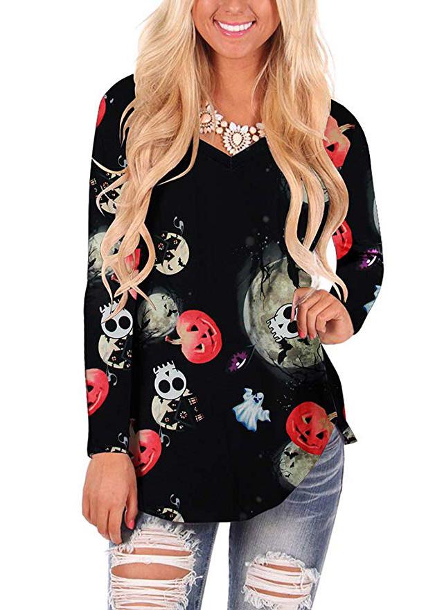 WFTBDREAM Womens Casual Curved Hem Long Sleeve T Shirt V Neck Side Slit Blouse  - pumpkin