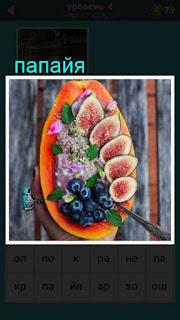 на блюде на столе приготовлена папайя с зеленью 667 слов 4 уровень