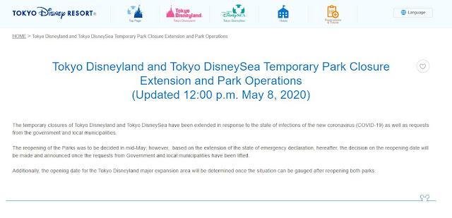 東京迪士尼度假區 宣佈兩大樂園將繼續關閉直至另行通知, The temporary closures of Tokyo Disneyland and Tokyo DisneySea have been extended until further notice