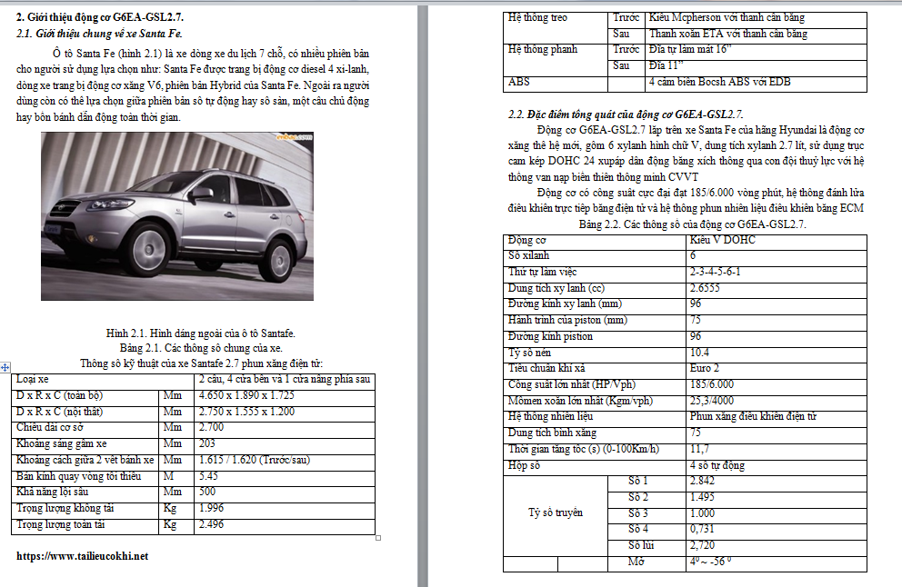 giới thiệu động cơ xe G6EA-GSL2.7 xe Santa Fe Hyundai