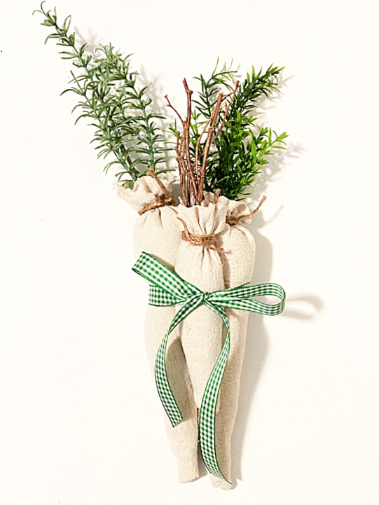 bundle of drop cloth carrots with green gingham bow