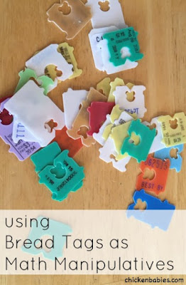 Make math fun by using bread tags as a cheap math manipulative!