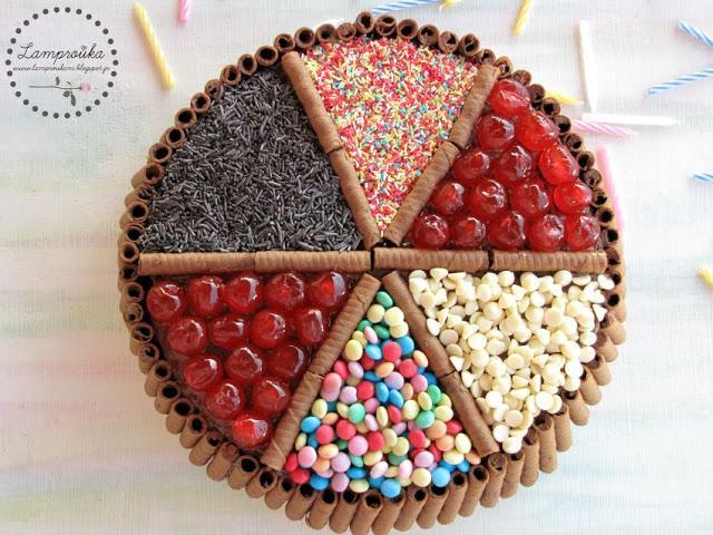 τούρτα γενεθλίων με ζαχαρωτά