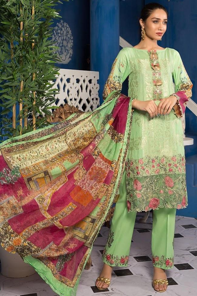 Warda Digital green printed suit Zicron bloom