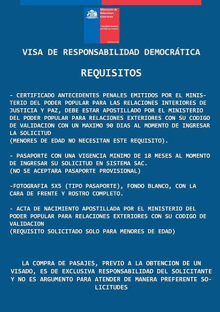 Los pasos a seguir para tramitar la Visa de Responsabilidad Democrática de Chile