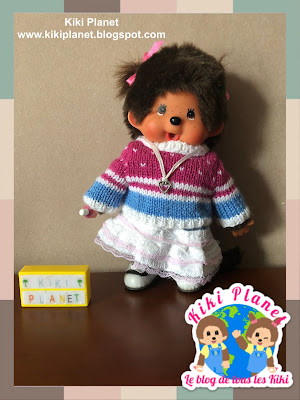 kiki monchhichi knitting tricot pull sweater handmade fait main doll poupée clothes