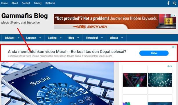 Cara Memasang Iklan di Bawah Menu Navigasi Blog Untuk Template Kompi Flexible