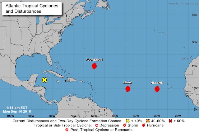 Tres huracanes en el Atlántico: Florence tocará tierra en el fin de semana