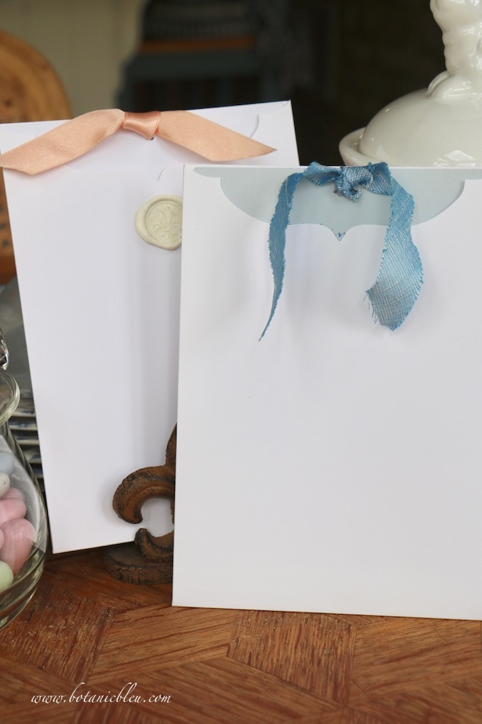 Colored cardstock contrasts with white envelopes of Handmade Easter Cards