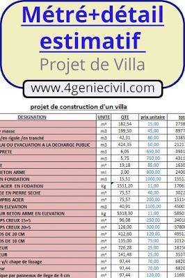 Devis estimatif construction Villa - excel