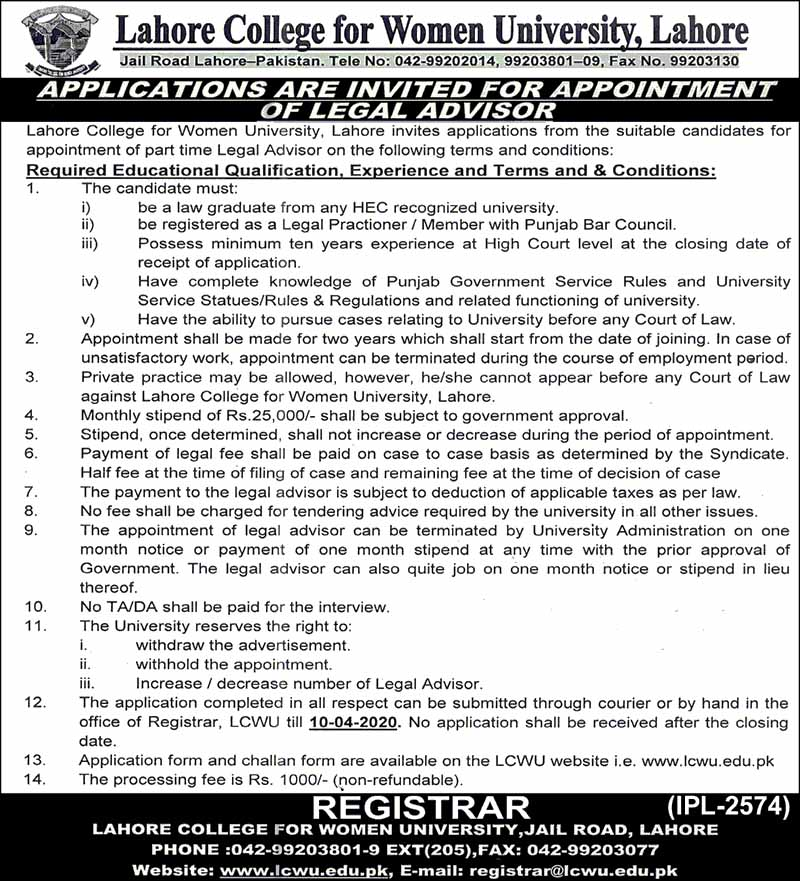 Lahore College For Women University Jobs