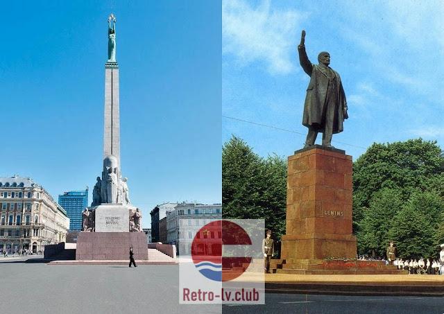 Монумент свободы и памятник Ленину в Риге Латвии