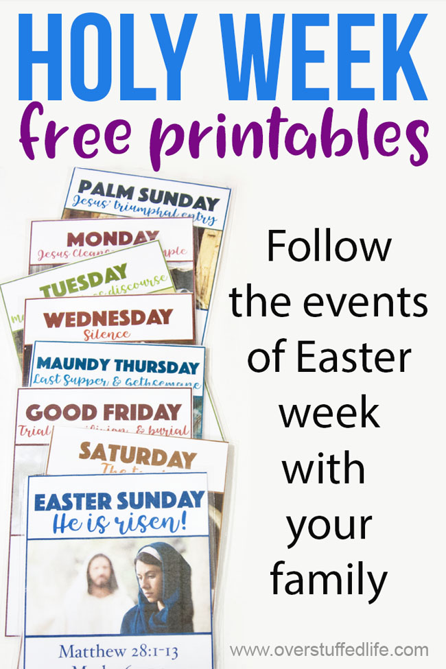 Holy Week free Easter printables—Follow the events of Easter week with your family by using these free printables. If you are looking for creative ways to teach the resurrection to your kids, these printables will help them better understand the Easter story.
