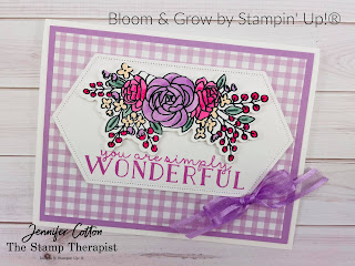 This card uses the Bloom & Grow bundle by Stampin' Up! plus the Stitched Nested Labels dies and Pansy Petals Designer Series Paper (DSP).  The images are colored in with Stampin' Blends.  See the blog post for supply list and video.  #StampinUp #StampTherapist #BloomandGrow