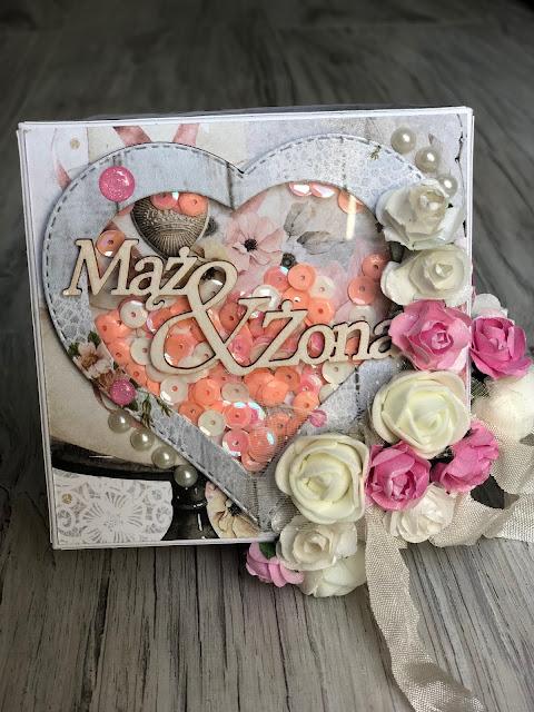 Ślubny Exploding Box z Shaker Boxem w kształcie serca