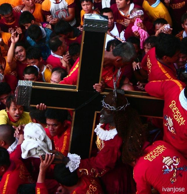 Devotees carrying the Black Nazarene during Holy Week