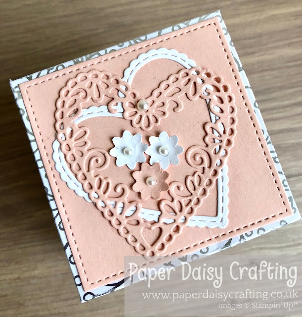 Exploding box wedding card meant to be stitched be mine stampin up