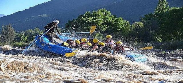 Rafting along Rio Maipo, Santiago de Chile.