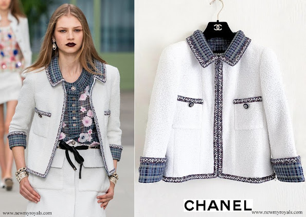 Princess Caroline wore CHANEL white tweed jacket from 2020 cruise collection