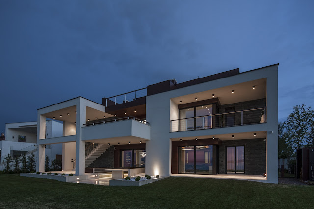 Modern home and lights at the dusk