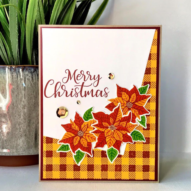 Sunny Studio Stamps: Petite Poinsettias Customer Christmas Card by Jamie